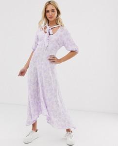 Fioletowa sukienka Ghost maxi z długim rękawem