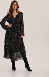 Czarna sukienka Renee z długim rękawem z dekoltem w kształcie litery v