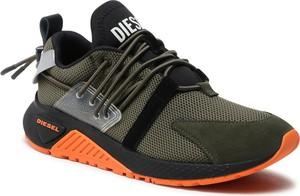 Zielone buty sportowe Diesel sznurowane ze skóry ekologicznej