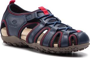Sandały Geox ze skóry ekologicznej z płaską podeszwą w stylu casual