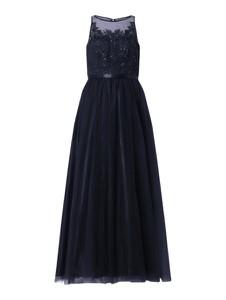 Granatowa sukienka Laona z okrągłym dekoltem w stylu glamour z satyny