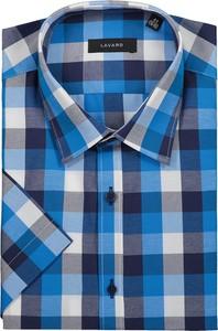 Niebieska koszula Lavard w stylu casual z klasycznym kołnierzykiem z długim rękawem