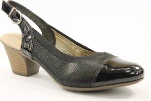 Czarne sandały Rieker na średnim obcasie z klamrami