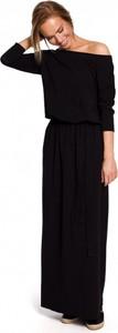 Czarna sukienka MOE z długim rękawem maxi