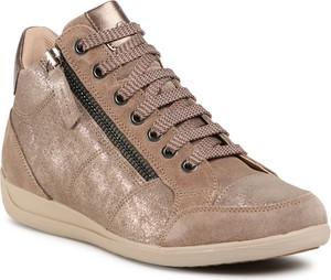 Brązowe buty sportowe eobuwie.pl sznurowane z płaską podeszwą