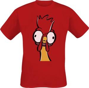 Czerwony t-shirt Emp z krótkim rękawem w młodzieżowym stylu z nadrukiem