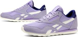 Buty sportowe Reebok sznurowane z płaską podeszwą z zamszu