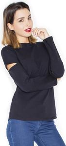 Czarna bluzka Katrus z okrągłym dekoltem z bawełny