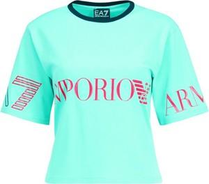 Niebieski t-shirt EA7 Emporio Armani z krótkim rękawem w młodzieżowym stylu z okrągłym dekoltem