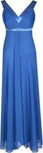 Sukienka Fokus rozkloszowana z szyfonu z dekoltem w kształcie litery v