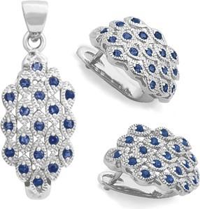 Braccatta PAVO Komplet srebrnej biżuterii z niebieskimi szafirami