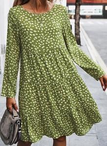 Zielona sukienka Cikelly z długim rękawem