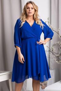 Niebieska sukienka KARKO z długim rękawem z szyfonu dla puszystych