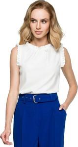 Bluzka Style bez rękawów z okrągłym dekoltem z tkaniny