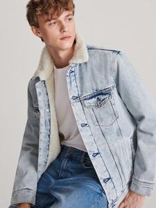 Niebieska kurtka Reserved w stylu casual z jeansu