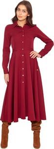 Czerwona sukienka Lanti koszulowa z tkaniny maxi