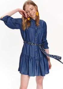 Niebieska sukienka Top Secret mini z długim rękawem