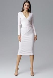 Sukienka Figl z dekoltem w kształcie litery v midi dopasowana
