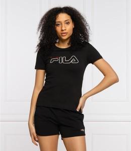 Czarna bluzka Fila w sportowym stylu z okrągłym dekoltem z krótkim rękawem