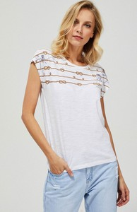 T-shirt Moodo z okrągłym dekoltem z bawełny w młodzieżowym stylu