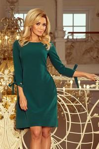 Zielona sukienka NUMOCO z długim rękawem trapezowa