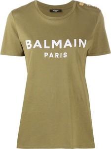 Zielony t-shirt Balmain z bawełny z okrągłym dekoltem w młodzieżowym stylu