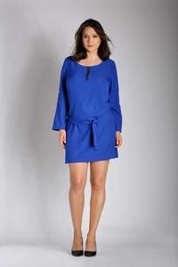 Niebieska sukienka Nommo mini z długim rękawem dla puszystych