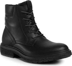 Czarne buty zimowe Ecco sznurowane z goretexu
