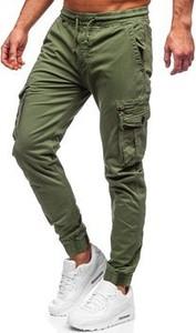 Zielone spodnie Denley z bawełny