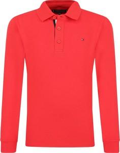 Czerwona koszulka dziecięca Tommy Hilfiger z długim rękawem