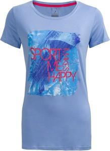 Niebieski t-shirt Outhorn z okrągłym dekoltem w młodzieżowym stylu z krótkim rękawem