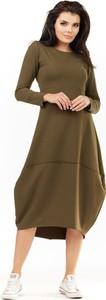 Zielona sukienka Awama z długim rękawem