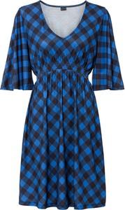 Niebieska sukienka bonprix z dekoltem w kształcie litery v