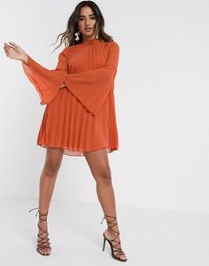 Pomarańczowa sukienka Asos z długim rękawem