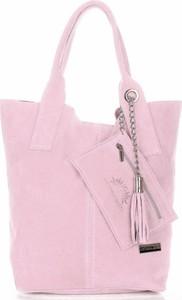 Różowa torebka VITTORIA GOTTI ze skóry duża w wakacyjnym stylu