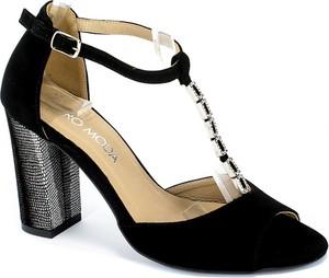 Czarne sandały Euro Moda ze skóry na obcasie z klamrami