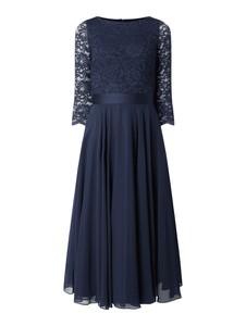Granatowa sukienka Swing midi rozkloszowana z okrągłym dekoltem