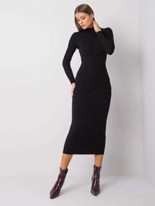 Czarna sukienka Sheandher.pl z długim rękawem w stylu casual midi