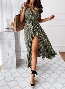 Sukienka Sandbella z dekoltem w kształcie litery v w stylu casual kopertowa
