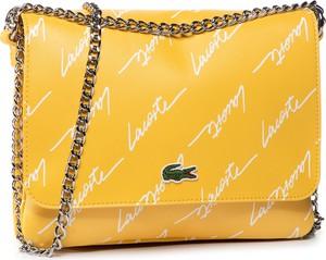 Żółta torebka Lacoste ze skóry mała