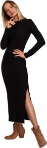 Czarna sukienka MOE maxi z długim rękawem