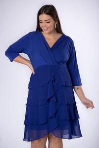 Sukienka Ptakmoda.com z dekoltem w kształcie litery v z długim rękawem kopertowa
