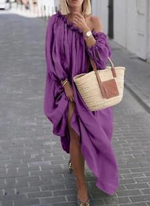 Fioletowa sukienka Cikelly w stylu boho maxi z długim rękawem