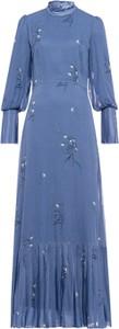Niebieska sukienka Ivy & Oak maxi w stylu boho z golfem