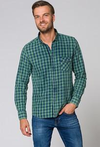 Zielona koszula LANCERTO z bawełny z długim rękawem