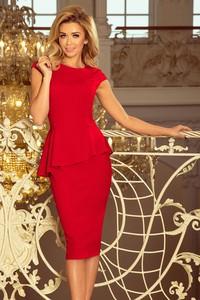 Czerwona sukienka NUMOCO wyszczuplająca z okrągłym dekoltem midi