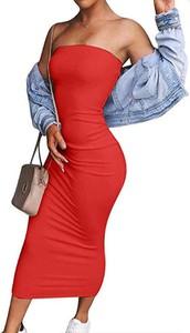 Czerwona sukienka Arilook maxi prosta hiszpanka