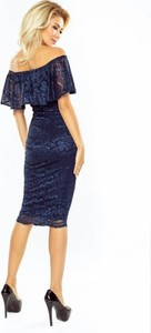Granatowa sukienka MORIMIA midi z krótkim rękawem
