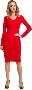 Sukienka MOE z dekoltem w kształcie litery v midi z długim rękawem