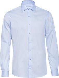 Niebieska koszula Veva z bawełny z włoskim kołnierzykiem z długim rękawem